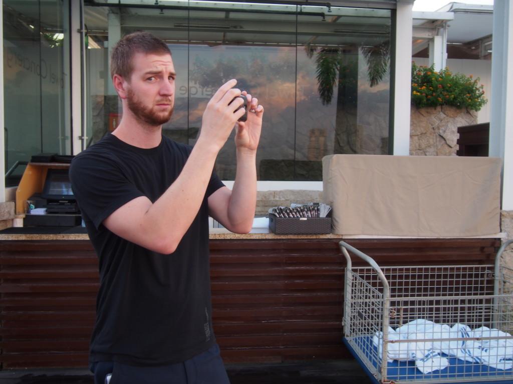 Nick (happily) documenting the sunrise