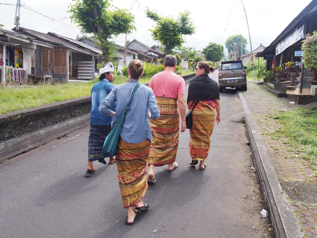 Walking with the guide (check out our fancy new sarongs!)